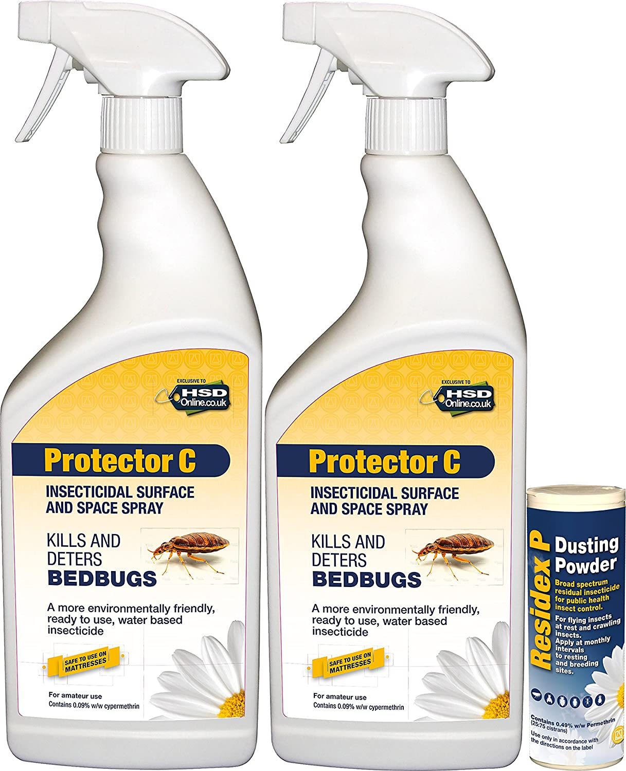 2 x 1 Litres Bed Bug Killer Treatment Spray and Powder Kit Agropharm