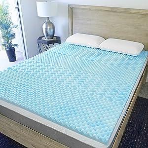 Sure2Sleep 5-Zone Cool Gel Swirl Memory Foam Mattress Topper Made in USA 2-Inch (King)