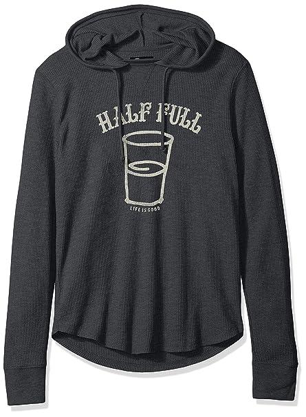 c66dbc8f833 Amazon.com  Life is Good Men s Waffle Half Full Arc Ngtblk Hoodie ...