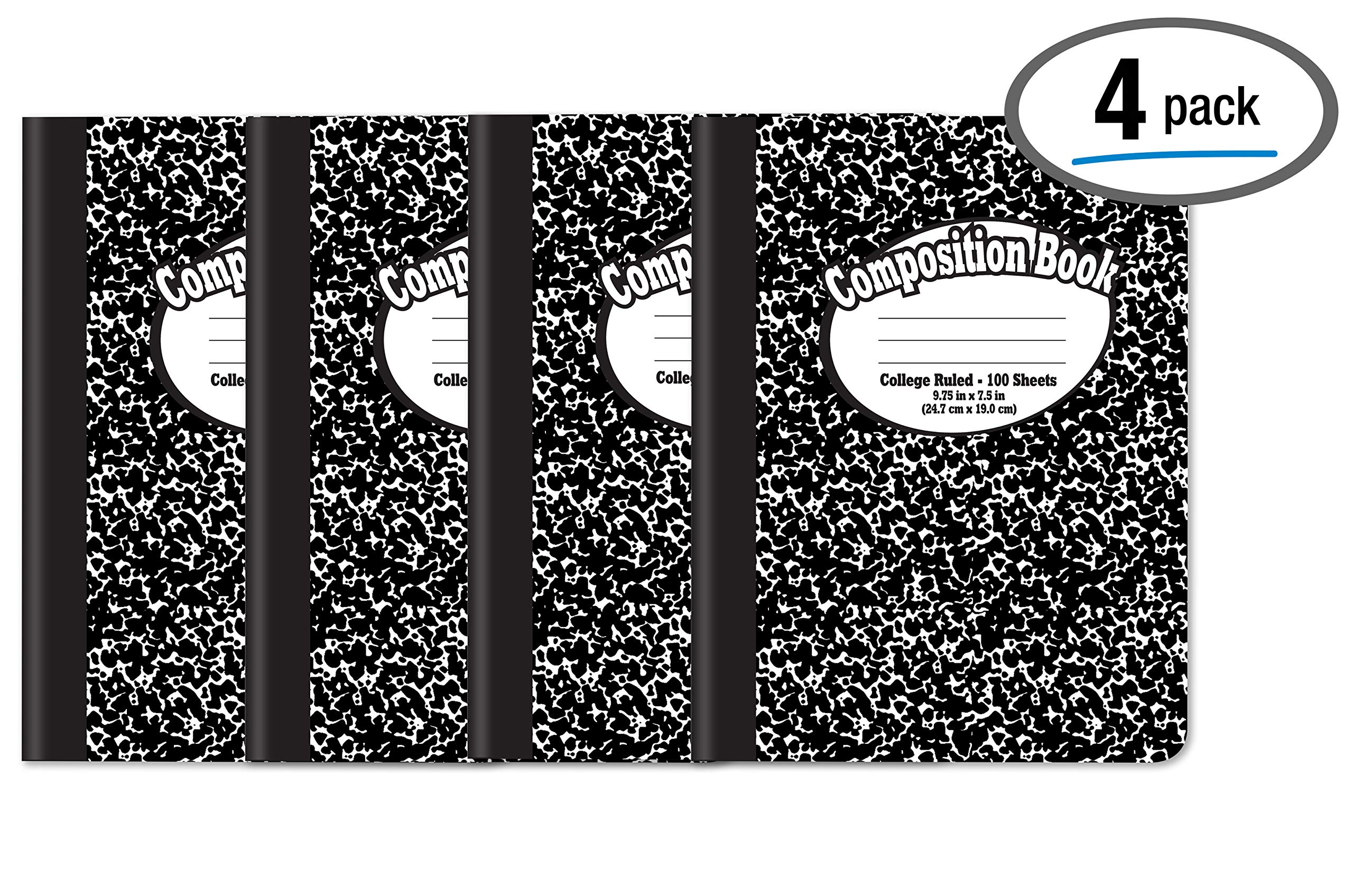 Composition Book Notebook - Hardcover, College Ruled (9/32-inch), 100 Sheet, One Subject, 9.75'' x 7.5'', Black Cover-4 Pack