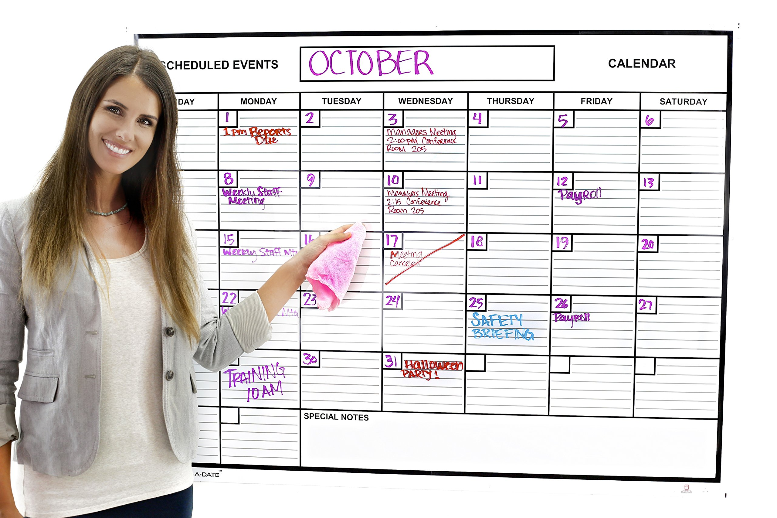 Whiteboard Dry Erase Monthly Calendar 2' x 3' Flexible Durable Sheet Material - Best for Goals Current Events By Acme Record A Date Offer Easy to Install Stick or Tack for Home School Business