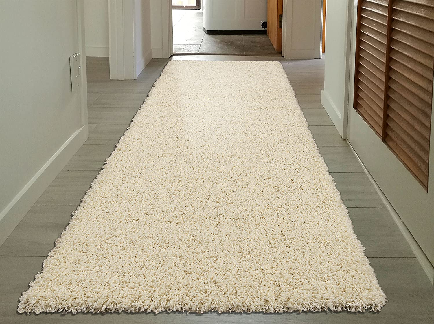 """Sweet Home Stores Cozy Shag Collection Cream Solid Shag Rug (2'7""""X7'6"""") Contemporary Living and Bedroom Soft Shaggy Runner Rug"""