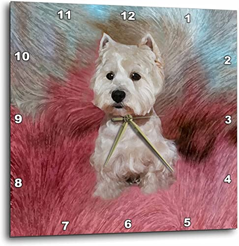 3dRose DPP_4054_2 Westie Wall Clock, 13 by 13-Inch
