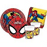 Ciao Y2493–Kit de Fête Spiderman pour 24personnes (112pièces: 24grandes assiettes, 24assiettes moyennes, 24verres, 40serviettes)