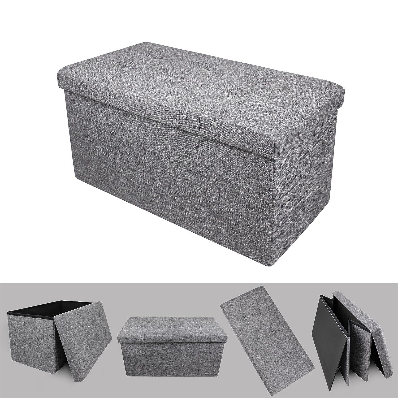 Todeco Poggiapiedi, Ottomana Pieghevole - Materiale: MDF - Carico massimo: 150 kg - Tessuto finitura trapuntata, 76 x 38 x 38 cm, Grigio