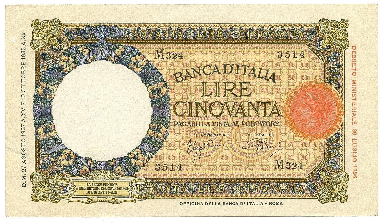 Cartamoneta  50 Lire LUPA CAPITOLINA MARGINE Largo Fascio Roma 27 08 1937 SPL SPL+