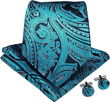 DiBanGu - Juego de corbata y gemelos cuadrados de seda con diseño ...