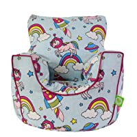 Cotton Space Unicorn Pastel Rainbow Bean Bag Arm Chair with Beans Toddler Size By Bean Lazy