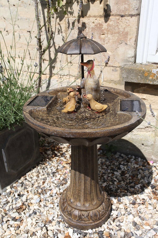Solar Powered Cascade Water Duck Family Umbrella Fountain Garden Bird Bath