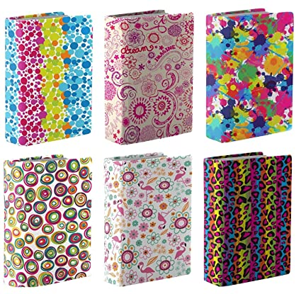 Kittrich BSJ-45106-12BJ Stretchable Book Covers, 6 Pack, Assorted Prints