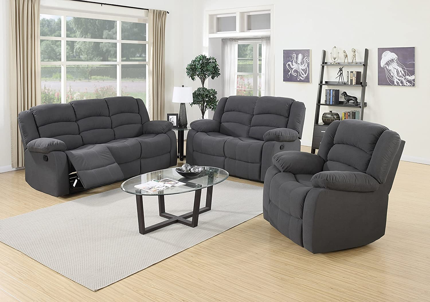 Amazon com  US Pride Furniture 3 Piece Grey Fabric Reclining Sofa  Loveseat    Chair Set  Kitchen   Dining. Amazon com  US Pride Furniture 3 Piece Grey Fabric Reclining Sofa
