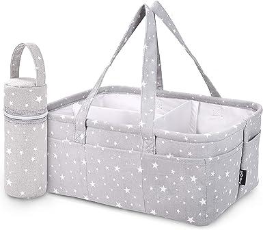 Yaootely Baby Diaper Caddy Organizer Portable Holder Shower Basket Portable Nursery Storage Bin Car Storage Basket for Wipes Toys Tote Bag Light Grey