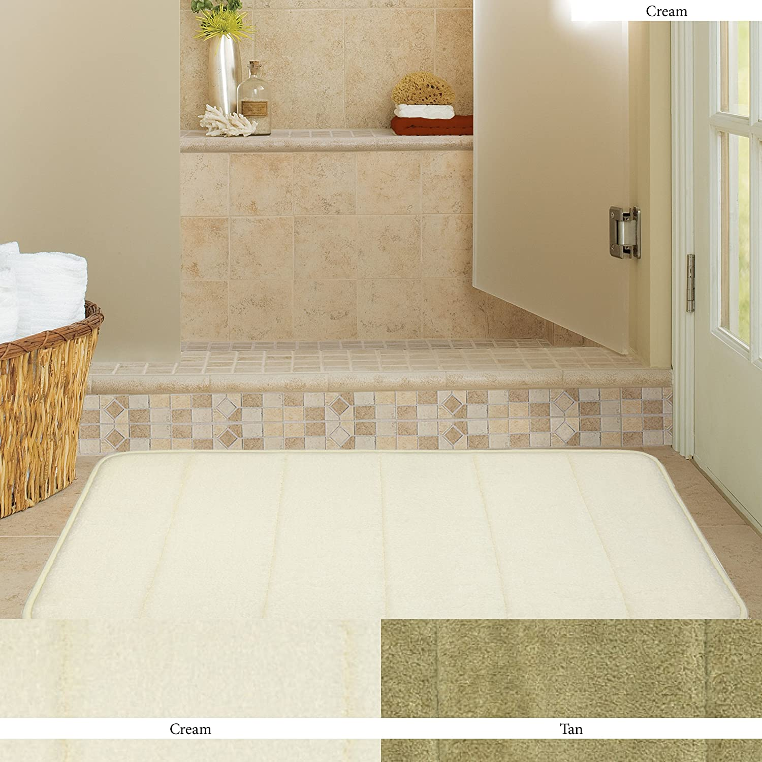 Amazon.com: Mohawk Home Memory Foam Cream Bath Rug, 17 Inch By 24 Inch:  Home U0026 Kitchen