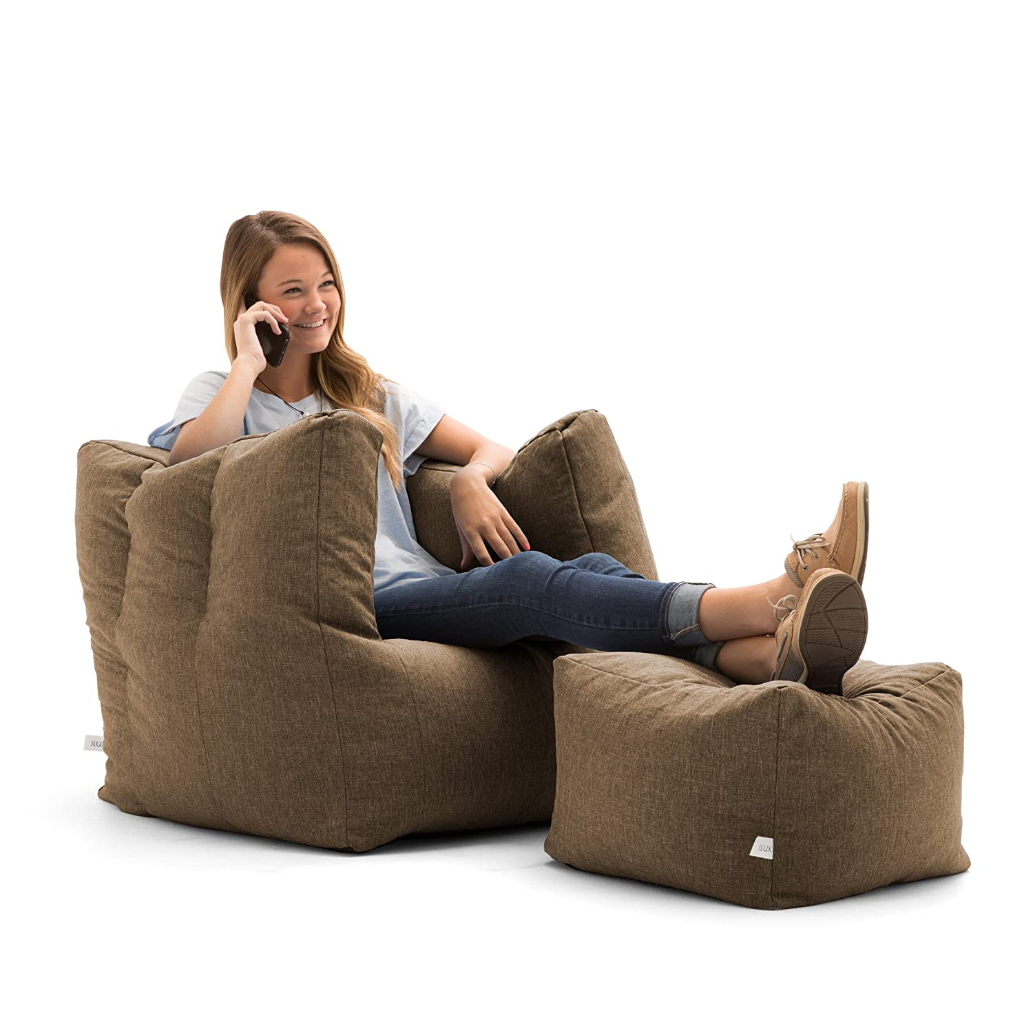 Superb Big Joe Lux Cube Ottoman In Union Pecan Alphanode Cool Chair Designs And Ideas Alphanodeonline