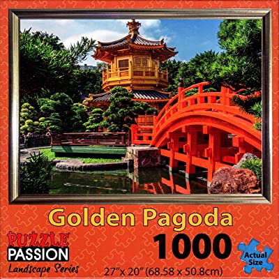 Puzzle Passion - Golden Pagoda - 1000 Piece Jigsaw Puzzle: Toys & Games