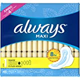 Always Maxi Size 1  Pads with Wings, Regular Absorbency, Unscented, 45 Count,Packaging May Vary