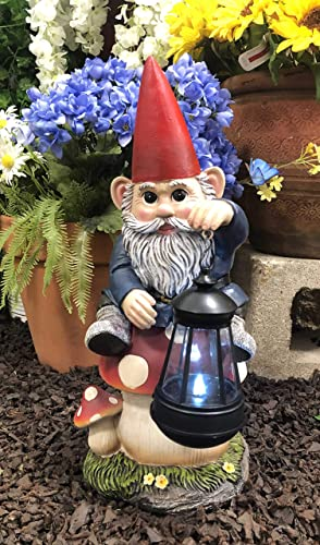 Ebros Large Whimsical Big Eyed Mr Gnome Sitting On Giant Toadstool Mushroom Holding Out Solar LED Lantern Light Statue 15″ Tall