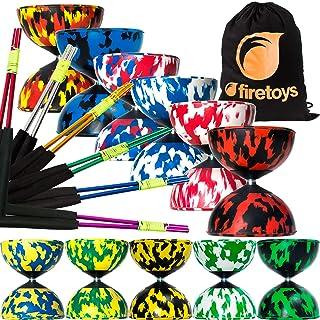 Mr Babache Harlequin diabolo set con Juggle Dream in alluminio colorato Sticks & Firetoys bag. Grande scelta di colori. (nero/rosso/YE