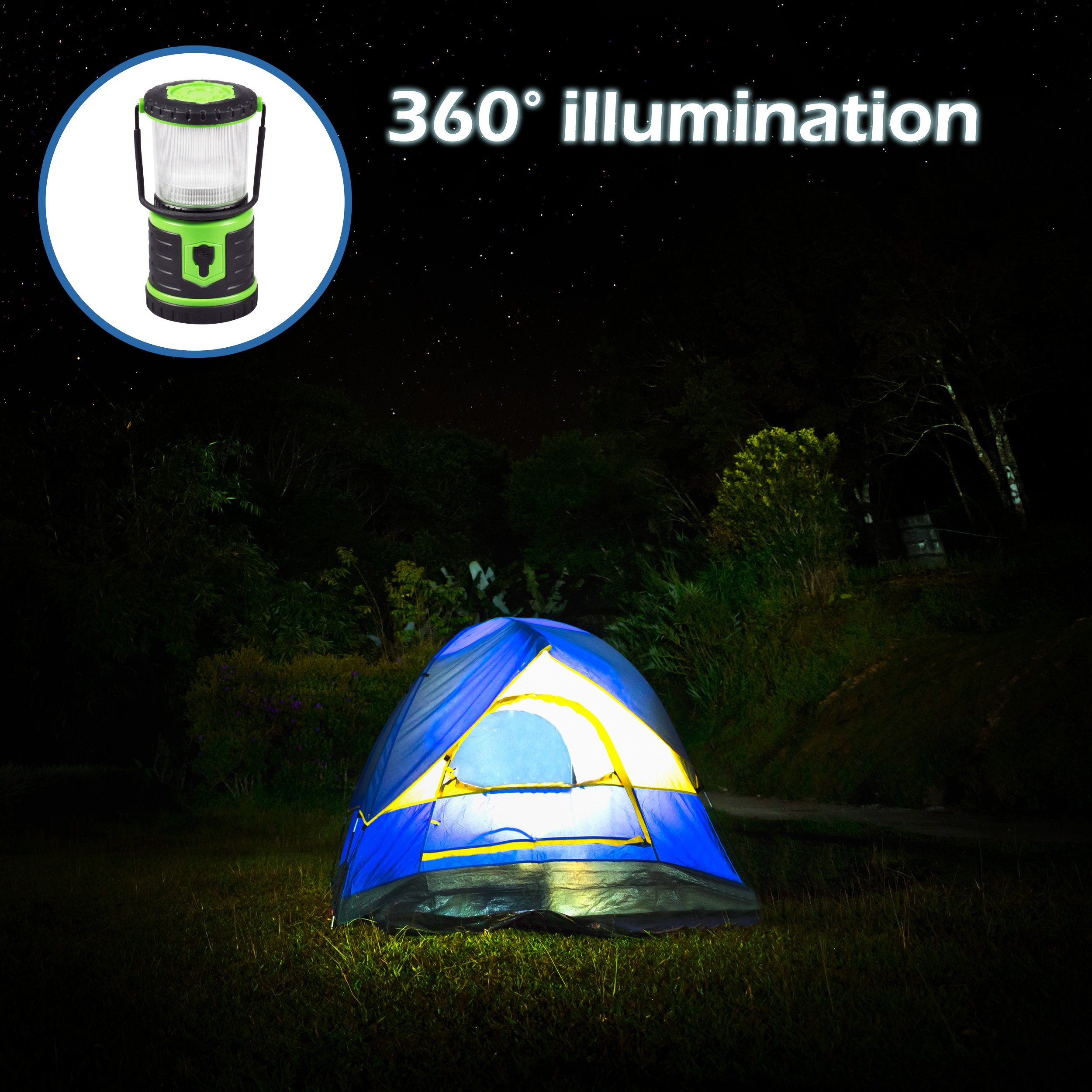 Blazin' Bison Brightest Rechargeable LED Lantern | 400 Hour Runtime | Phone Charger | Hurricane, Emergency, Storm (400 Lumen, Green) by Blazin' Bison (Image #6)