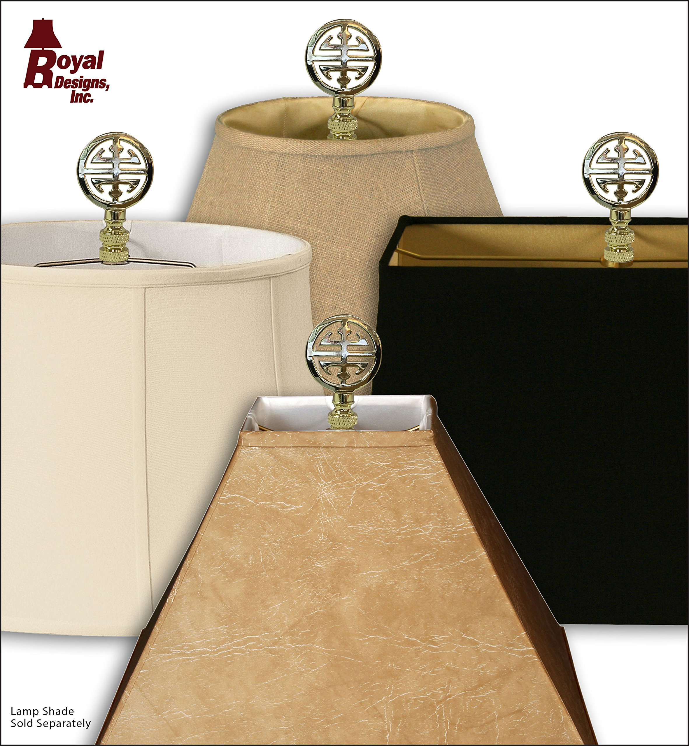 Royal Designs Oriental Happiness Symbol Lamp Finial for Lamp Shade- Polished Brass Set of 2 by Royal Designs, Inc (Image #4)
