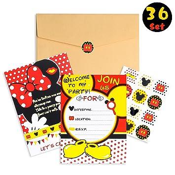 Amazon.com: PANTIDE 36 tarjetas de invitación de Mickey ...
