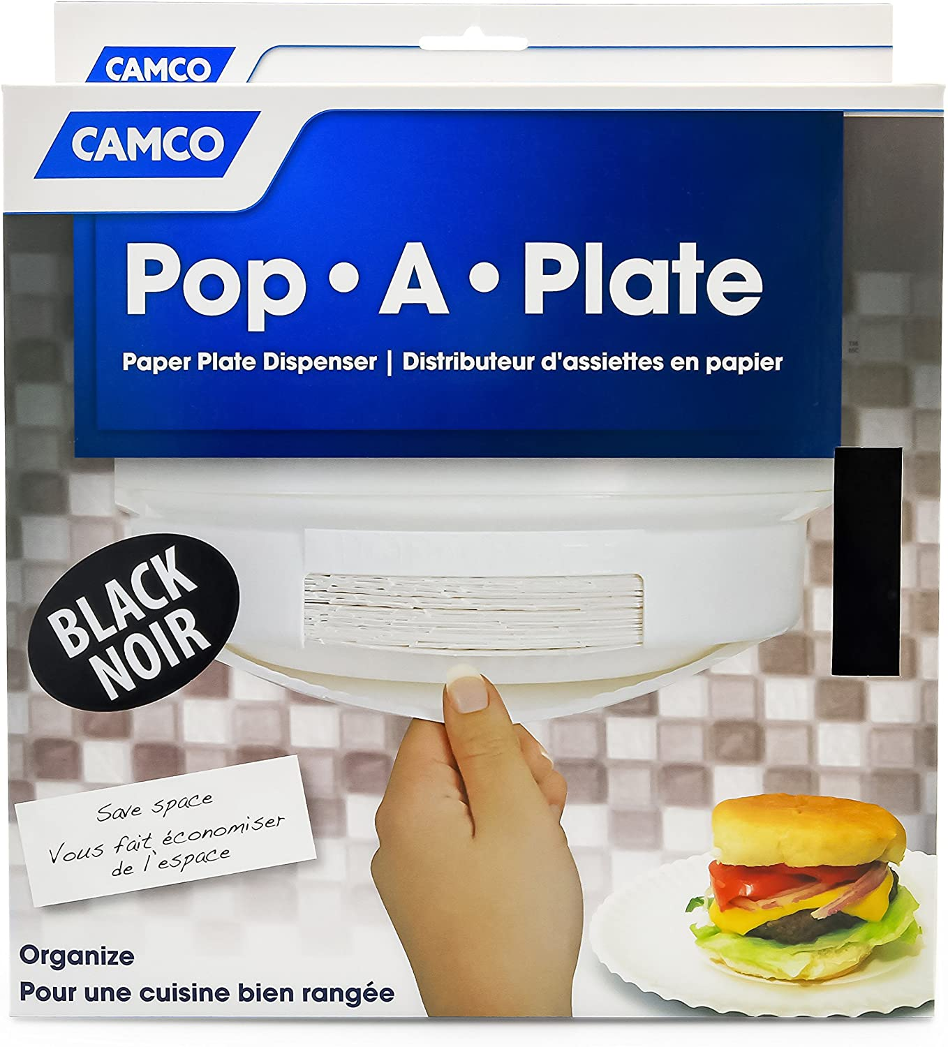 Amazon Com Camco Pop A Plate Paper Plastic Plate Dispener Holds 125 9 Plates Mounts To Walls And Cabinets Easily Organize And Conserve Space In Your Kitchen Perfect For Rvs And Trailers Black 57006 Automotive