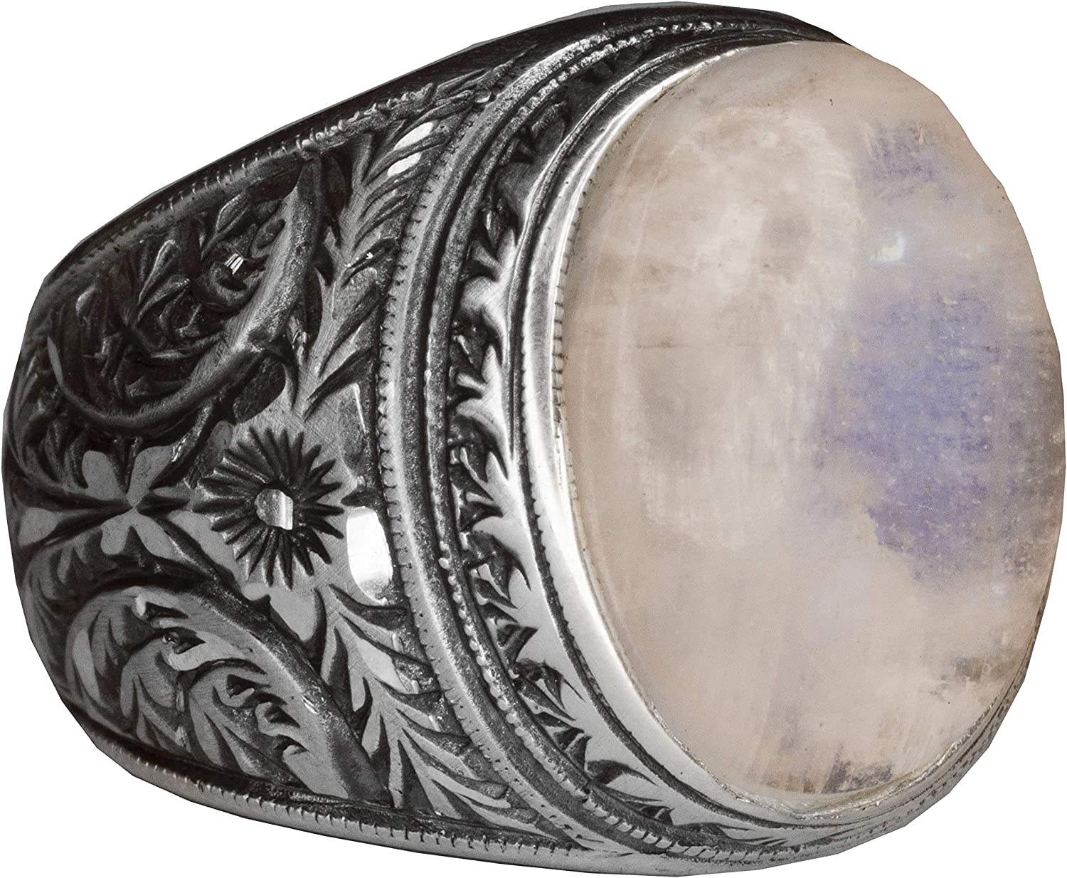 Free Express Shipping Steel Pen Craft Falcon Jewelry 925 Sterling Silver Men Ring Natural Rainbow Moonstone Gemstone