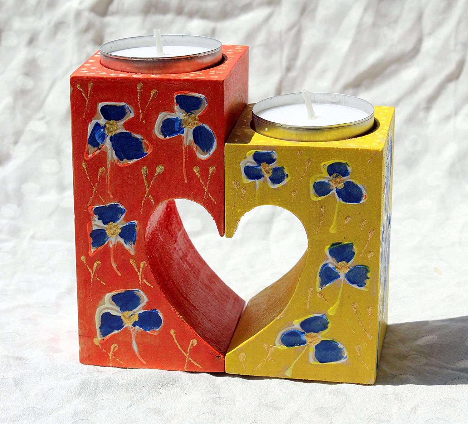 Pair Primitive Hearts Stars Hand Painted Wooden Taper Candleholders Home Decor Candle Holders Accessories