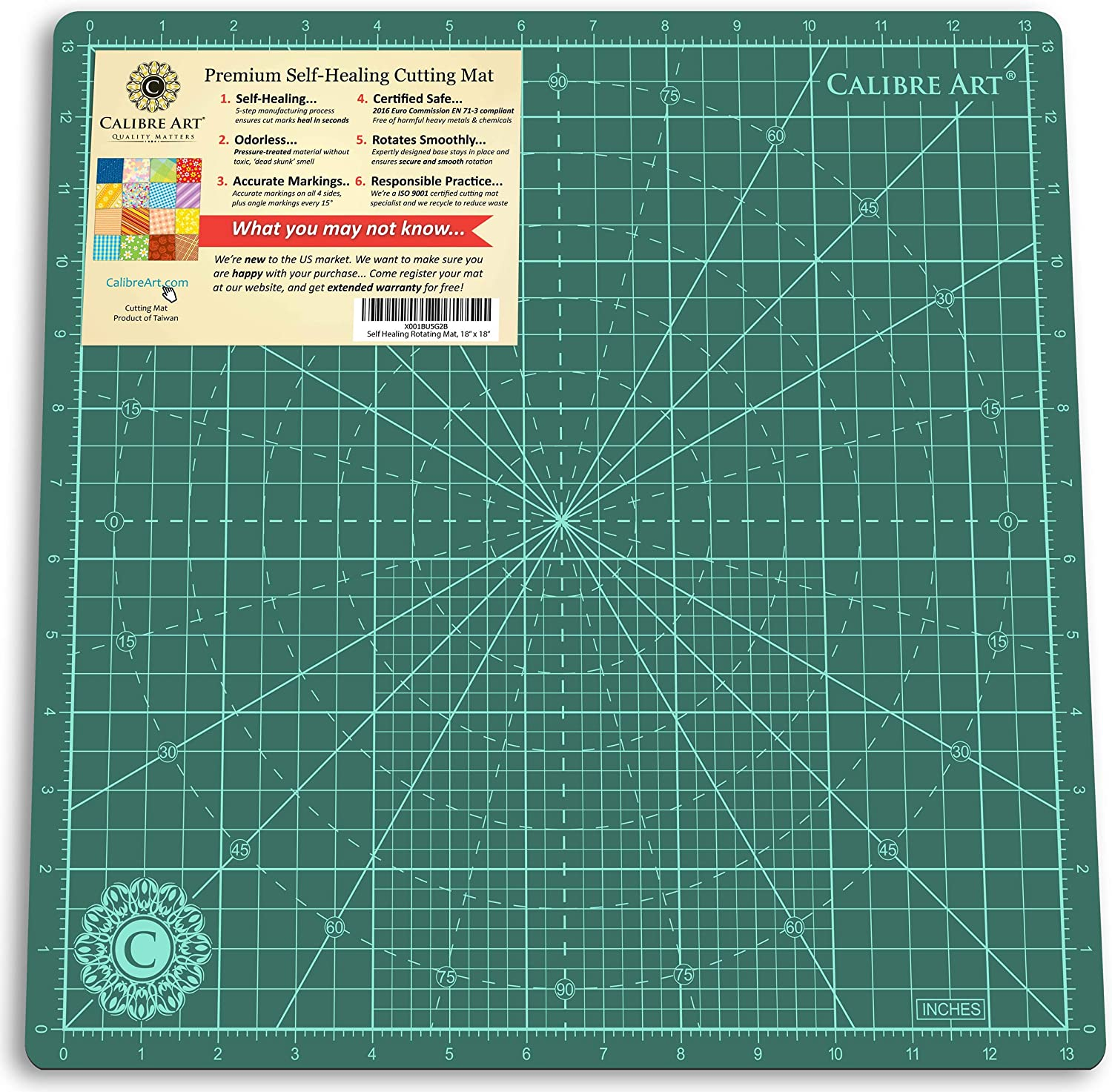13 grid Calibre Art Rotating Self Healing Cutting Mat Perfect for Quilting /& Art Projects 14x14