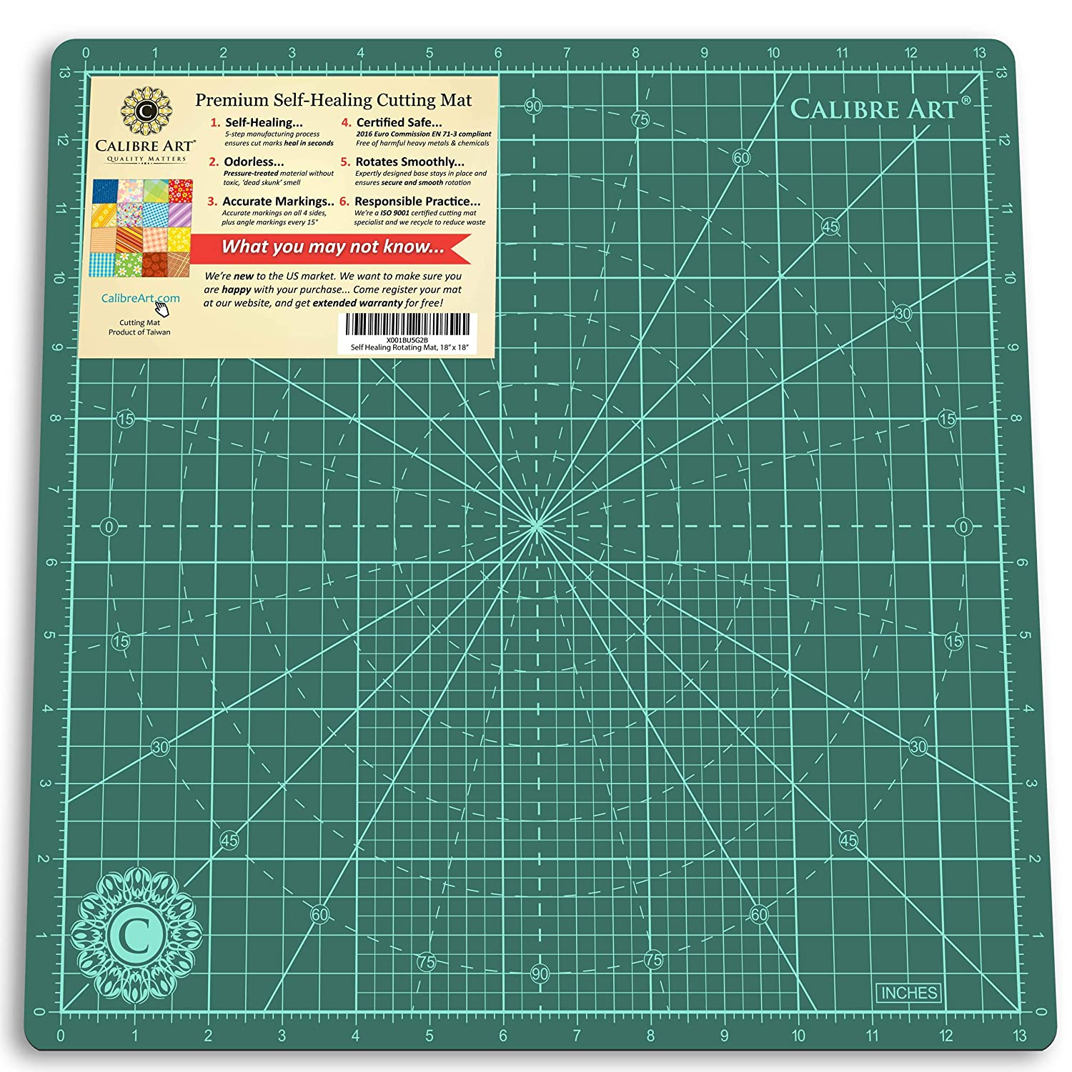 Calibre Art Rotating Self Healing Cutting Mat, Perfect for Quilting & Art Projects, 14x14 (13 grid) 14x14 (13 grid) 4336849742