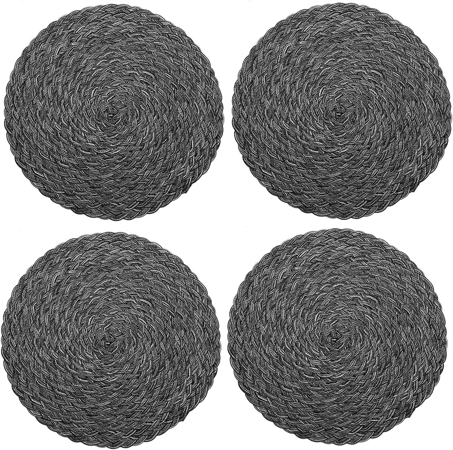 Topotdor Round Placemats Heat-Resistant Stain Resistant Anti-Skid Washable Polyproplene Table Mats Placemats (Braided-Gray, Set of 4): Home & Kitchen