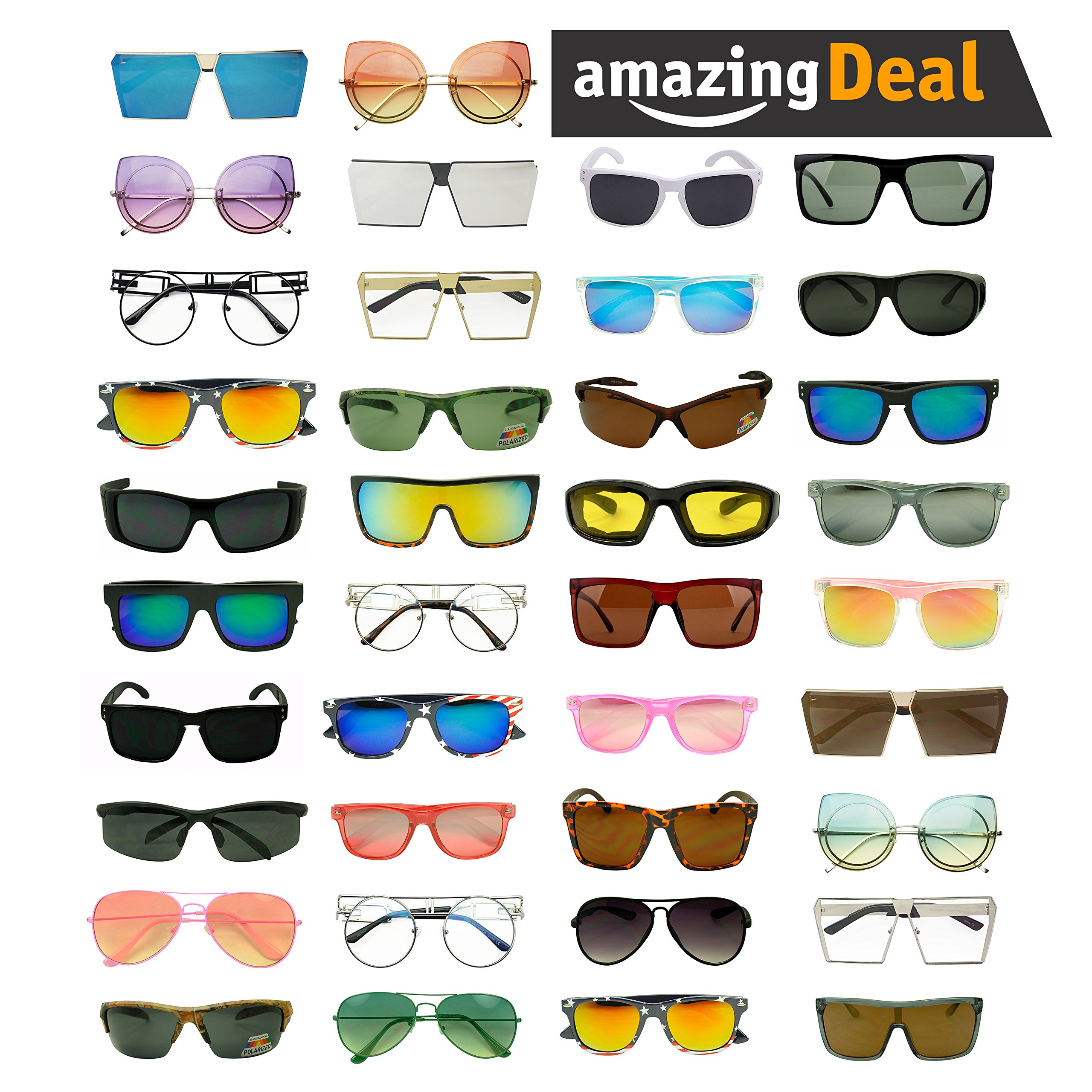 Womens LOT of 12, 25 Assorted Colors & Style Retro Classic Vintage Designer Inspired Sunglasses Wholesale Deal (Lot of 100 (Assorted), Assorted) by Sunglass Stop (Image #1)