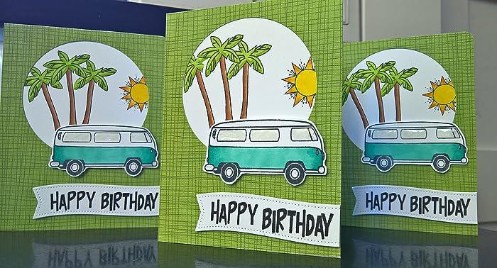 Amazon Birthday Card For Guy Vw Bus Birthday Card Summer