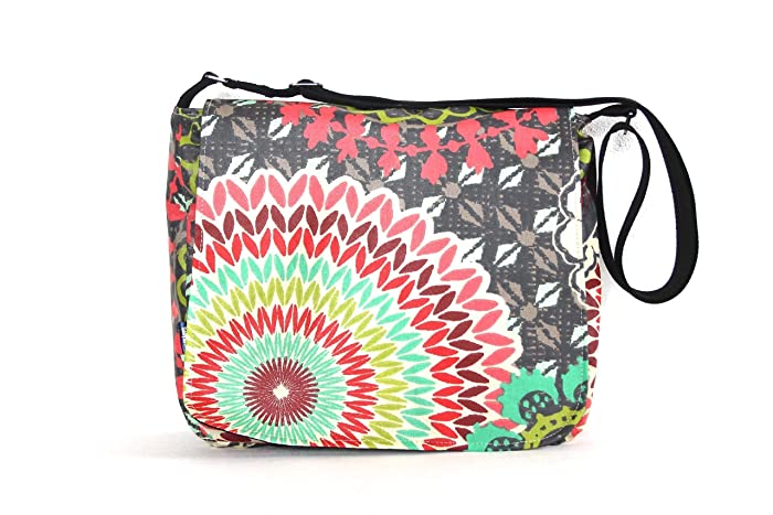 3ce468e0e Amazon.com: Large Cross Body Messenger Satchel Purse Handbag in Funky Slate  Print: Handmade