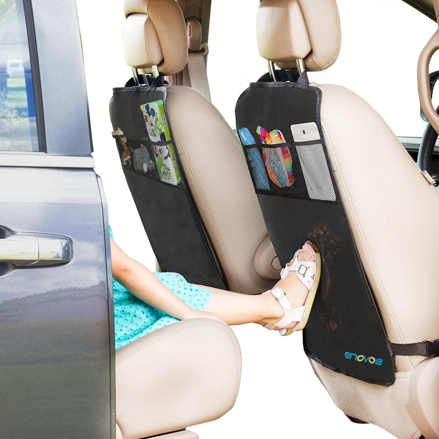 Enovoe Kick Mats with Back Seat Organizer - Premium Car Backseat Protector with Storage Pockets for The Backseat of Your Car - 2 Pack