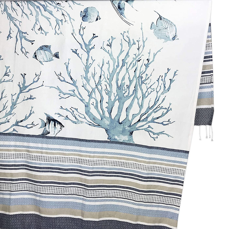 Toalla de Playa con dise/ño de fouta Color Coral Azul tex family 100 x 200 cm tama/ño Grande con Mochila de Playa