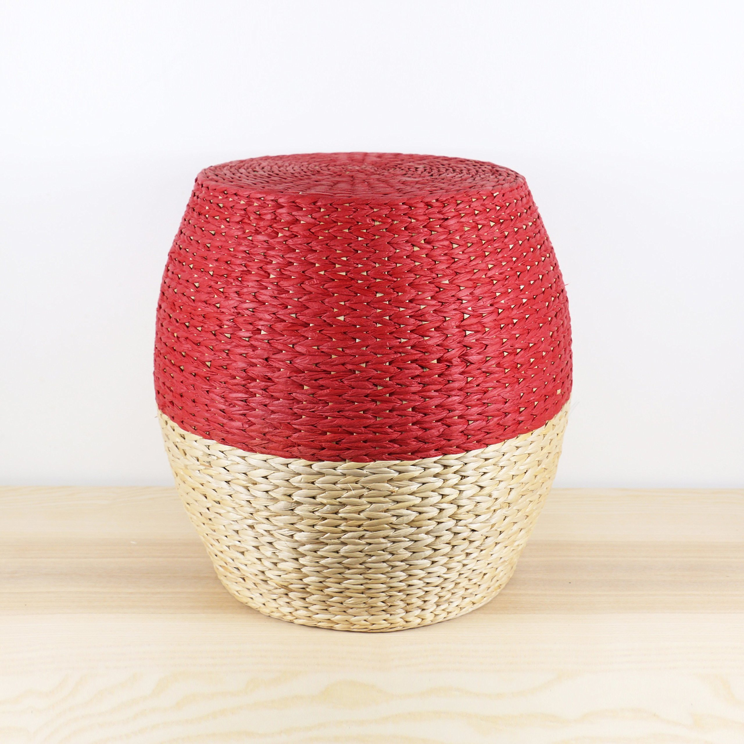 Round rustic red-white wood stool/Wholesales bulk/wedding gift/rustic stool/Wooden chair/Country decor