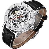 Men's Watch, Mechanical Stainless Steel Skeleton Steampunk Design Automatic Self-Winding Roman Numeral Wrist Watch