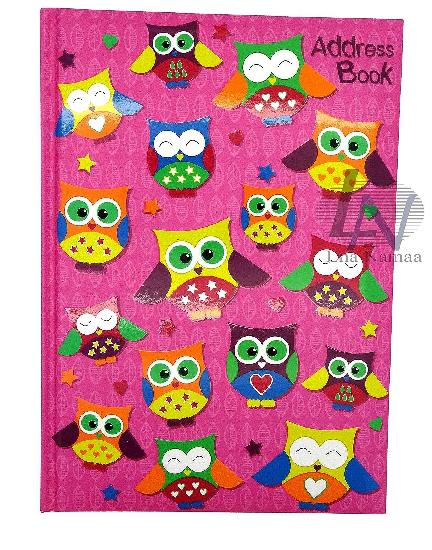 Rubrica A-Z del telefono, per indirizzi, a libro, formato A5, con copertina rigida, motivo: gufi, multicolore LN