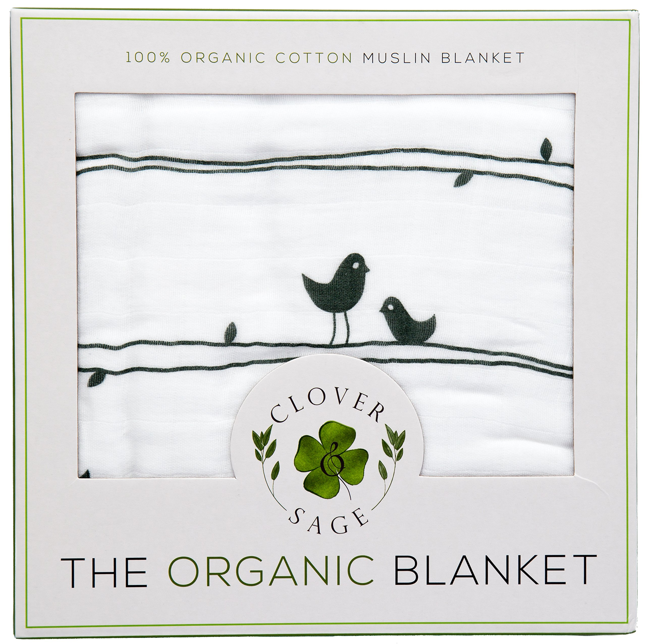 Organic Muslin Baby Toddler Blanket - 100% Hypoallergenic Cotton Bed Blankets - Lucky Birds by Clover & Sage by Clover & Sage