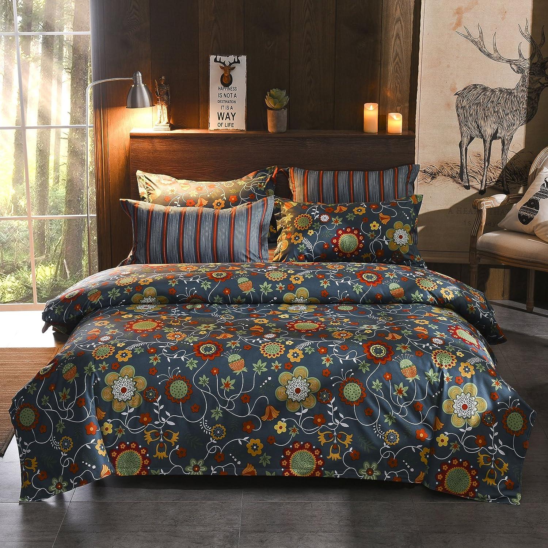 GOOFUN Duvet Cover Bedding Set 3pcs Lightweight Microfiber 1 Duvet Cover 2 Pillow Shams, Comfortable, Breathable and Soft, Sunshine Flora, Full Queen Size