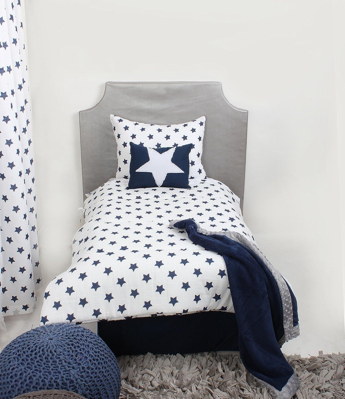 Bacati Stars Muslin 3 Piece Toddler Bedding Sheet Set Navy