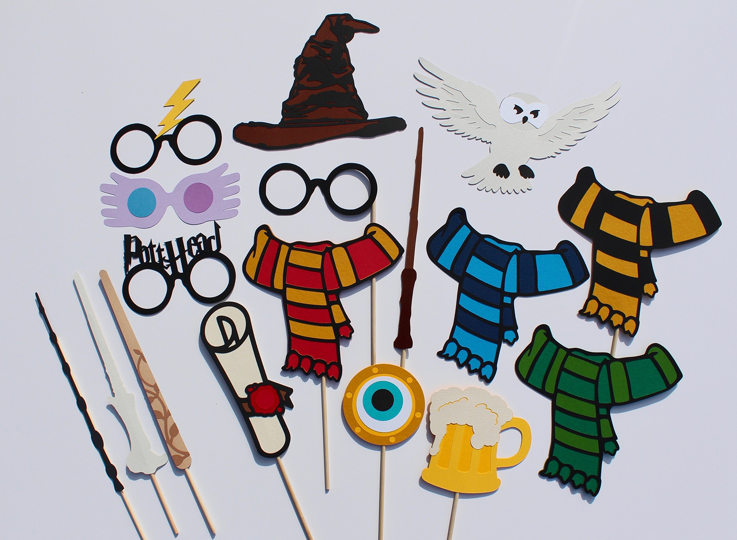 Wizard Photo Booth Props - 17 Pieces - Includes Magic Wands, Snow Owl, Scarves and more