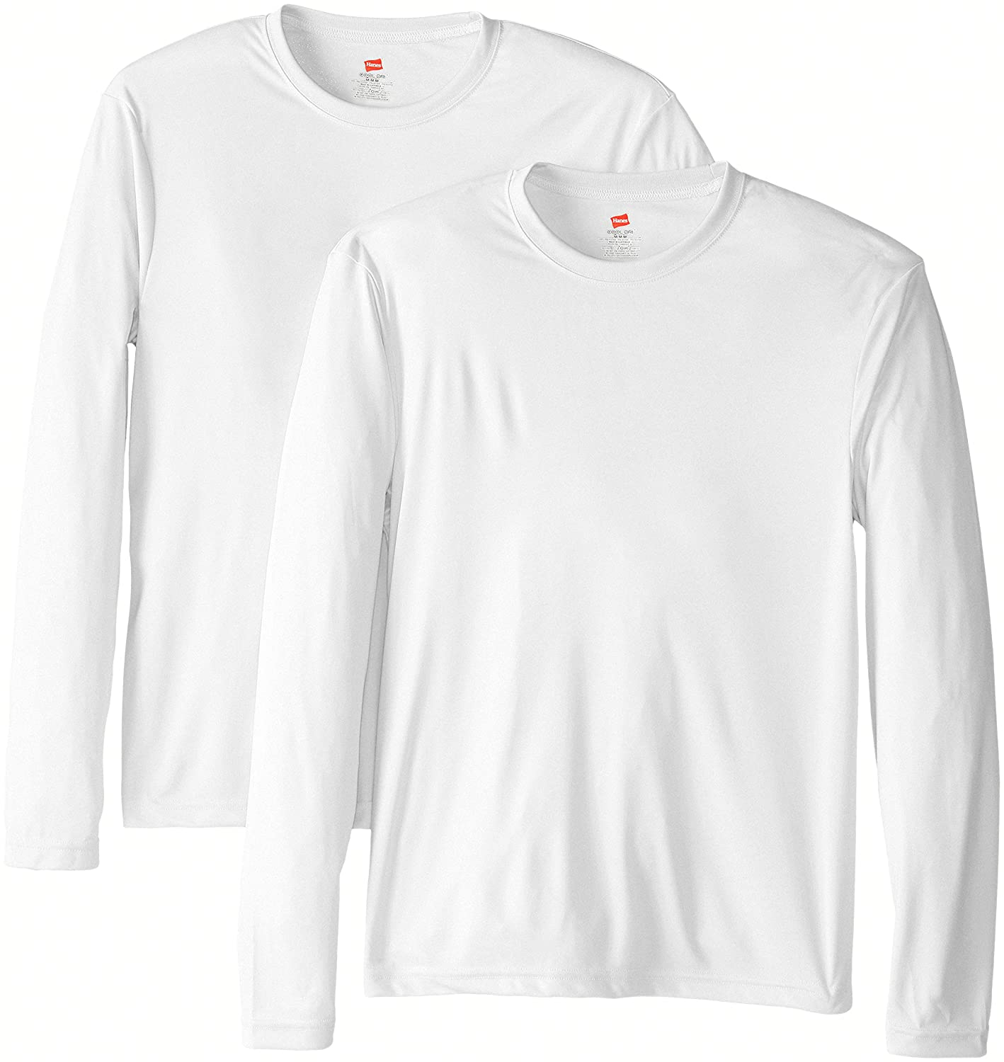 a1cabc4b7459 Hanes Men's Long Sleeve Cool Dri T-Shirt UPF 50+ (Pack of 2) at Amazon  Men's Clothing store: