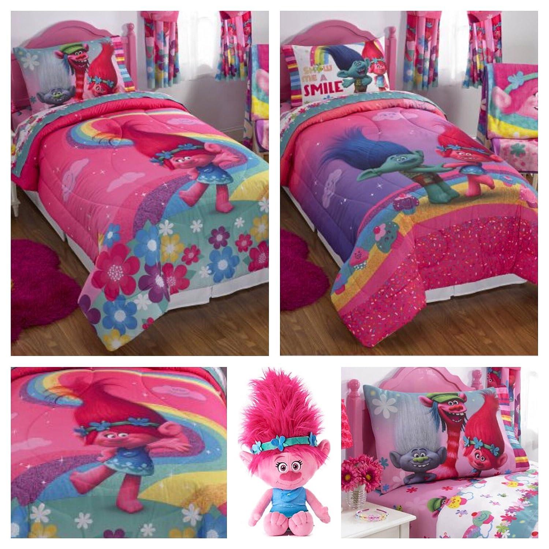 Trolls Girls Complete Bedding Comforter Set with Poppy Plush Pillow - Full