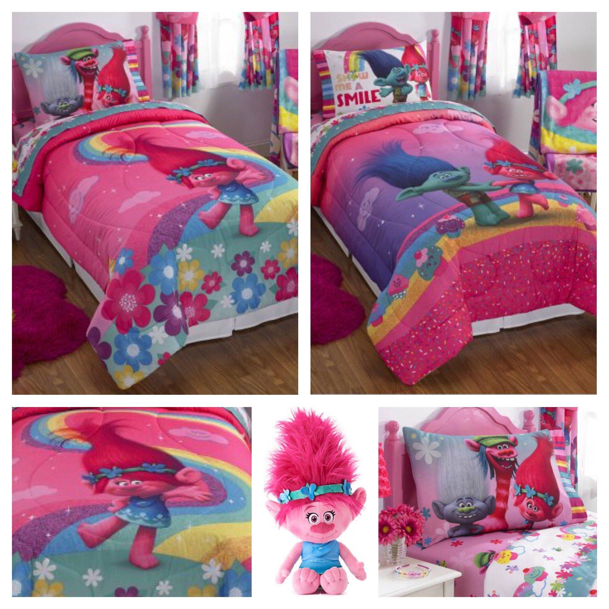 Trolls Girls Complete Bedding Comforter Set with Poppy Plush Pillow Buddy - Full