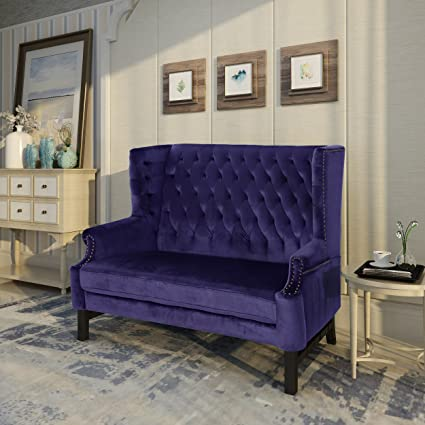 Amazon.com: Christopher Knight Home 303836 Nollie High Back Tufted Winged  Plum Velvet Loveseat, Dark Brown: Kitchen U0026 Dining