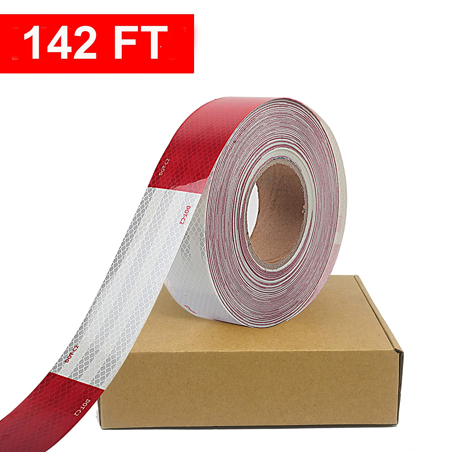 Waterproof Reflective Safety Tape Roll 2X142' Feet Long Red White DOT C2 Auto Truck Safety Reflector Strips Self adhesive Conspicuity Safety Hazard Caution Warning Sticker for Vehicle Car Trailer