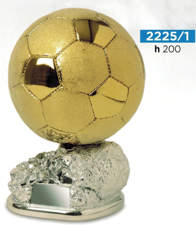 Trofeo de fútbol, balón dorado brillante y satinado sobre base ...