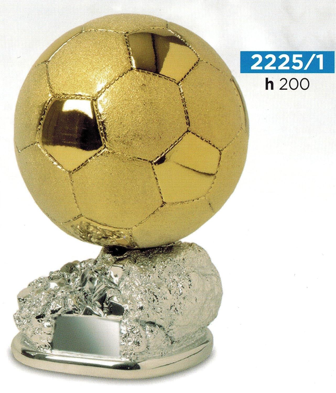 Trofeo de fútbol, balón dorado brillante y satinado sobre base plateada - Altura 20 cm–Bien acabado–Fabricado en Italia Trofeo de fútbol CINQUESTELLE